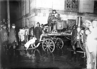 Bomberos trabajan en una calle