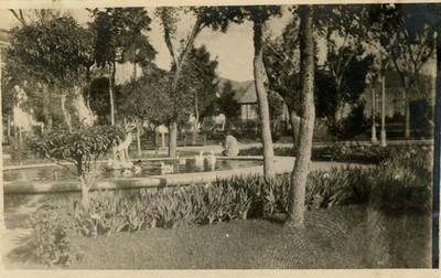 Parque Hidalgo, mujer sentada en una fuente