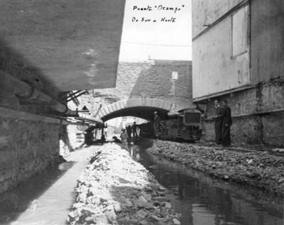 """Trabajo de desazolve en el """"Puente """"Ocampo"""" de sur a norte"""""""