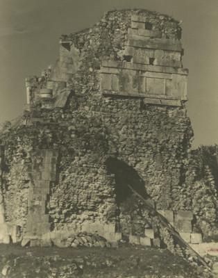 Fachada lateral del Templo de los Tigres o Jaguares en su lado sur