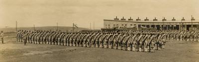 Formación de las tropas estadounidenses en el puerto de Veracruz