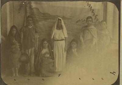 Personas otomíes procedentes de Metztitlán, retrato de grupo