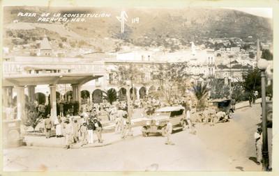 """Plaza de la Constitución, Pachuca, Hgo."", tarjeta postal"