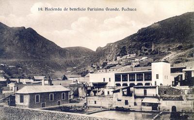 """""""Hacienda de beneficio Purísima Grande. Pachuca"""", tarjeta postal"""