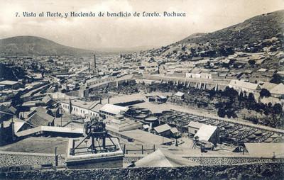 """""""Vista al norte, y Hacienda de Beneficio de Loreto, Pachuca"""", tarjeta postal"""