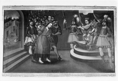 Cristo es llevado ante Poncio Pilato, cuadro al óleo del Museo Guadalupe Zacatecas, reprografía