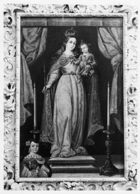 Virgen con niño en brazos, cuadro al óleo, pintura exhibida en el Museo Regional de Guadalupe