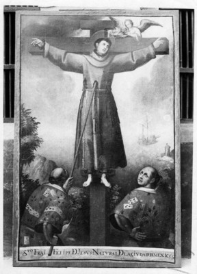 """""""Santo Fray Felipe de Jesús"""", natural de la Ciudad de México, cuadro al óleo, exhibida en el Museo Regional de Guadalupe"""