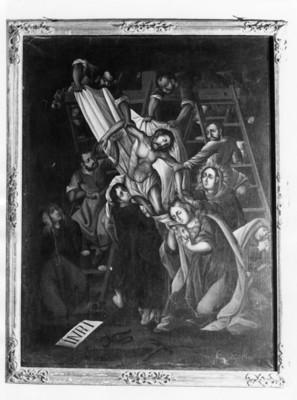 Cristo es bajado de la cruz, pintura de serie la Pasión de Cristo de Gabriel José de Ovalle en el Museo Guadalupe