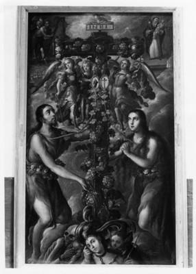"""Pintura el """"Árbol de la Vida"""" en la Sala Alegorías de Villalpando del Museo Guadalupe"""