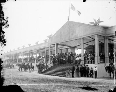 Porfirio Diaz y comitiva en un palco de honor, durante una ceremonia militar