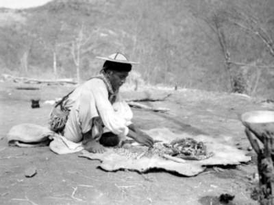 Indígena huichol desgranando maíz en una comunidad Nayarita