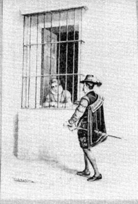 Pareja conversando atravéz de una ventana, grabado del Cuento La Monja Alferez