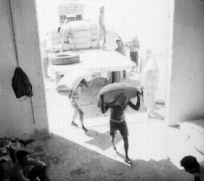 Estibadores acarreando bultos, durante una entrega de trigo en un almacén