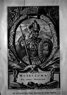Moctezuma, reprografía de una placa litográfica de John Ogilby
