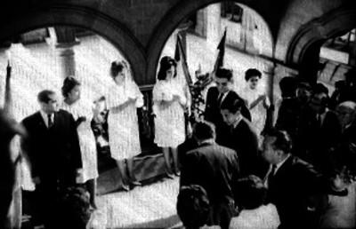 Adolfo López Mateos, familia y Príncipes japoneses en Los Pinos, retrato de grupo