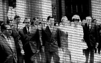 Akihito, Michiko y comitiva en el Palacio de Bellas Artes
