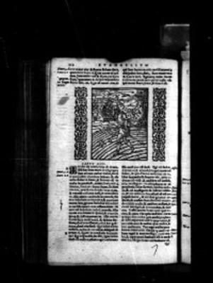 Litografía de hombre que camina por campo de cultivo, en página de Biblia Sacra