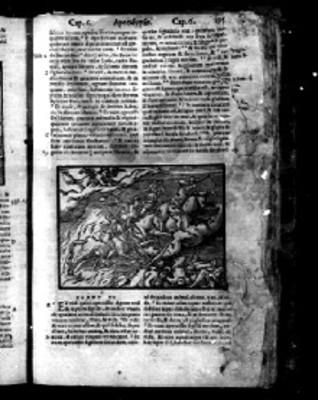 """Pasaje de un capítulo del """"APOCALYPSIS"""" en la Biblia Sacra"""