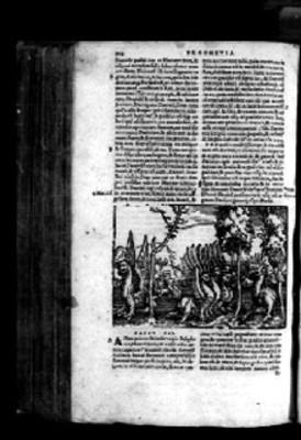 Litografía sobre profecía en página de Biblia Sacra