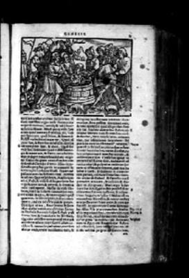 Página de Biblia Sacra con imágen acerca del génesis