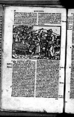 Página de Biblia Sacra con el Capítulo XXII correspondiente al Génesis