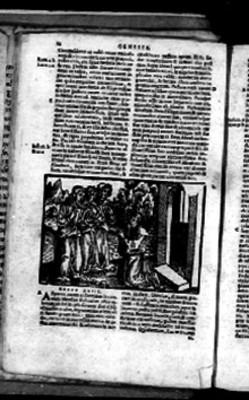 Capítulo XVIII del Génesis acompañado por litografía