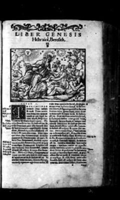 Portada del libro del Génesis en página de Biblia Sacra