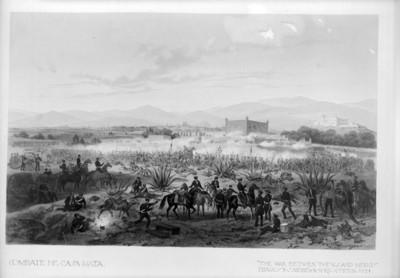 """""""Combate de Casa Mata"""", """"The war betwen the U.S. and Mexico"""", dibujo de Nebel"""