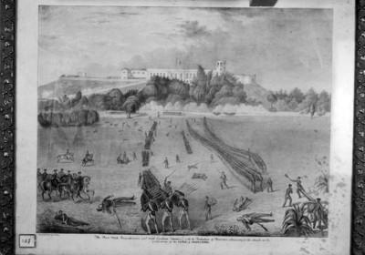 Ataque al Castillo de Chapultepec, grabado