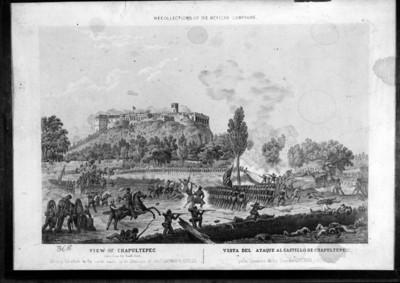 """""""Visita del Ataque al Castillo de Chapultepec"""", grabado"""