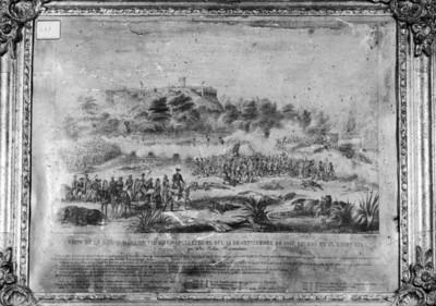 """""""Vista de la accción dada al pie de Chapultepec el día 13 de Septiembre de 1947"""", pintura"""