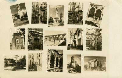Tarjeta postal que muestra varias iglesias y monumentos de Querétaro