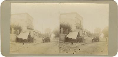 """Hombres junto a un carruaje en el """"rancho de Puentecillas"""""""