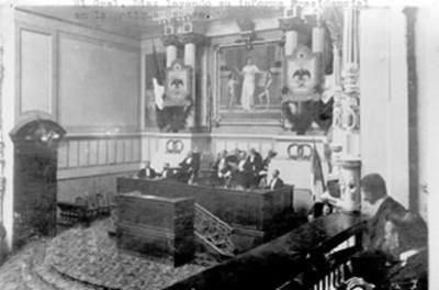 Porfirio Díaz durante su informe presidencial