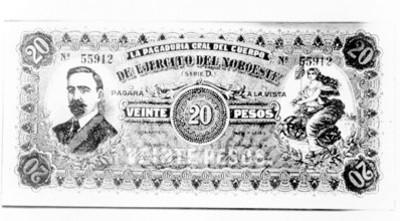 Billete de veinte pesos con la imagen de Frnacisco I. Madero del ejército del Noroeste en la revolución constitucionalista