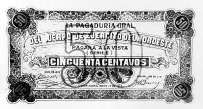 Billete de cincuenta centavos del ejército del Noroeste en laREvolución Constitucionalista
