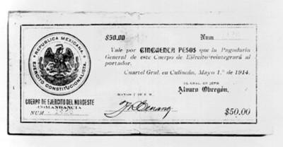 Billete de cincuenta pesos del ejército del noroeste en la revolución constitucionalista