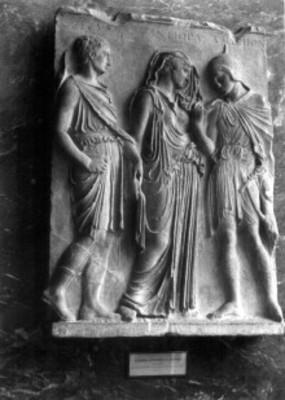 Hermes, Eurídice y Orfeo, relieve romano