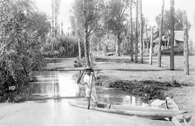 """Hombre en trajinera """"en el pueblo de Santa Anita"""", retrato"""