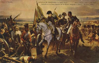 """Pintura de la """"batalla de Friedland"""", tarjeta postal"""
