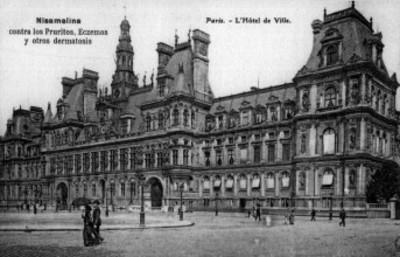 """Grabado del """"Hôtel de Ville"""" en París"""