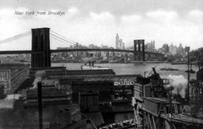 Tarjeta postal con ilustración del Puente de Brooklyn en Nueva York
