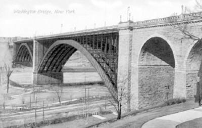 "Tarjeta postal con la ilustración del ""Wahsington Bridge"""