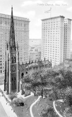 Tarjeta postal con ilustración de la.Iglesia Trinity