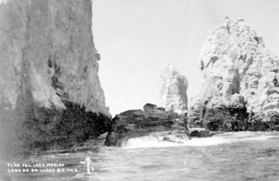 """""""Peña del Lobo Marino, Cabo de San Lucas B.C. Mex."""", paisaje, tarjeta postal"""