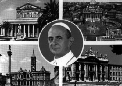 Pablo VI rodeado de las Basílicas de San Pedro, Santa María La Mayor, San Juan de Letrán y San Pablo Extramuros