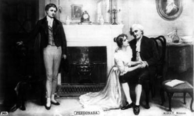 Mujer se arrodilla ante hombre mientras un individuo la observa