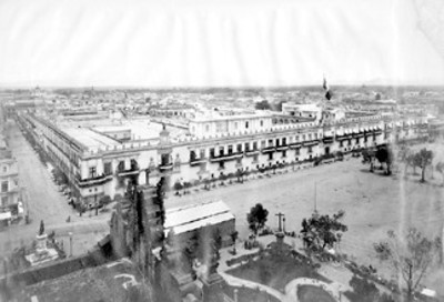 """""""N°. 233.Panorama of Mexico, the Palace form the Cathedral"""""""