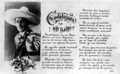 """Tarjeta postal con la imagen de """"Juan Porta"""" y letra de canción"""